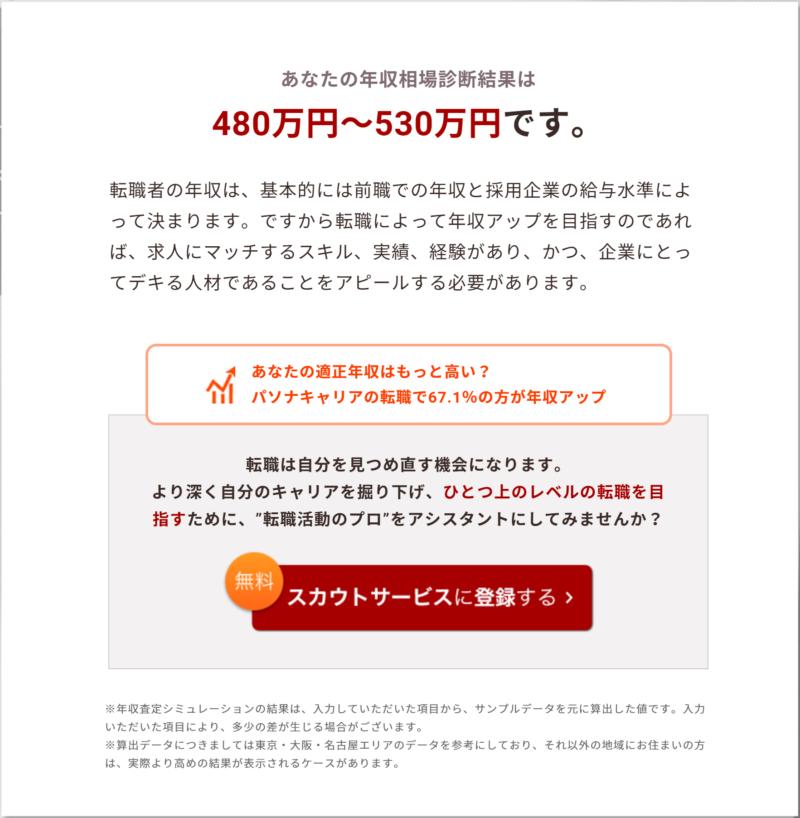 パソナキャリア年収査定シミュレーション結果