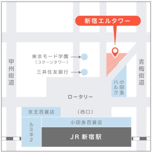 マイナビジョブ20'sの面談場所である東京オフィスの地図